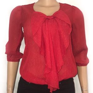By&By red bow shimmering long sleeves 1/4 elastic